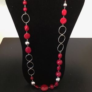 Long Red Necklace! Add this to your bundle!